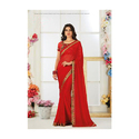 Georgette Red Saree, With Blouse Piece