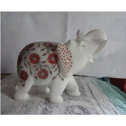 Marble Inlay Elephant Statues