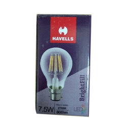Round Warm White Havells LED Bulb, 7.5 W