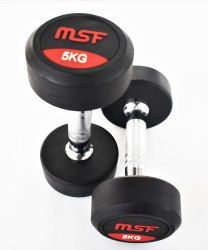 Rubber Fixed Weight MSF Round Dumbbell For Gym