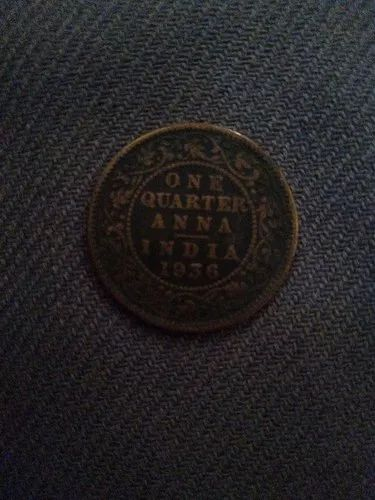 Copper 1936 Old Coins One Quarter Anna