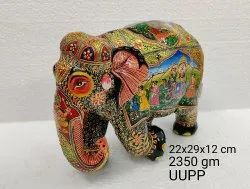 Multicolor Wooden Fine Elephant Statue With Rajput King Painting for Decoration