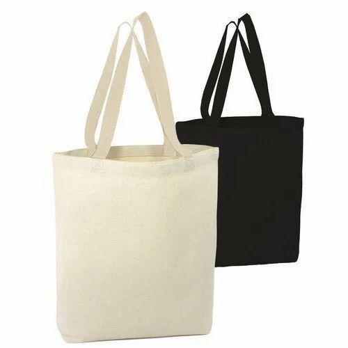 Cream And Black Plain Cotton Tote Bag 134e93472fcb