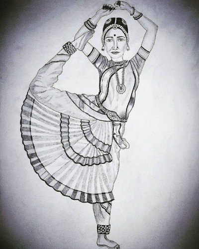 Ms Drawing Black White Classical Dancer Pencil Sketch Size 35 X 50 Cm Rs 1999 Piece Id 22236668448