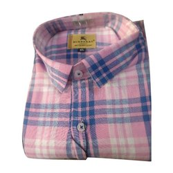Casual Wear Mens Cotton Check Shirt, Size: M to XXL