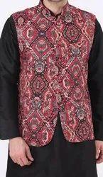 Cotton Blend Printed Nehru Jacket