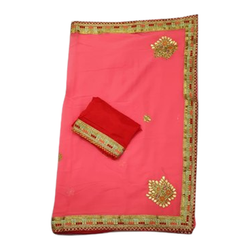 Ladies Embroidered Pure Georgette Saree, 5.5 m (separate blouse piece)
