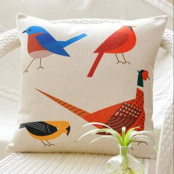Bird Printed Cushion Cover