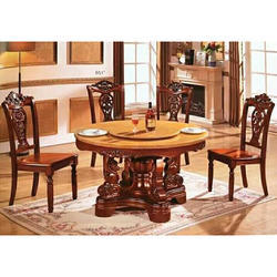 Royal Brown Wooden Carved Dining Table Set, For Home
