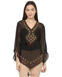 Indo- Western Brass Beads Hand Embroidered Top