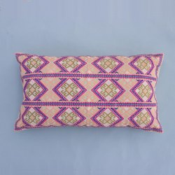 Lumbar Chambray Cotton Embroidery Pillow Cover Multi Colour Bohemian Bed Pillow Cover