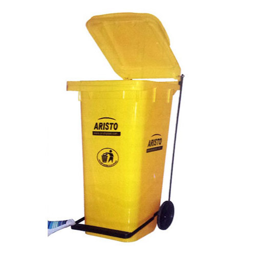 Yellow Foot Pedal Foot Operated Wheeled Garbage Bin