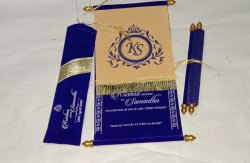 Blue and Gold Fabric Scroll Invitation Card
