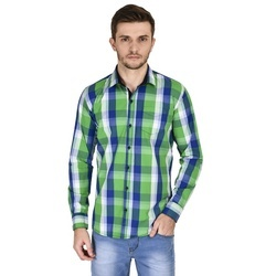 Men Green Check Shirt
