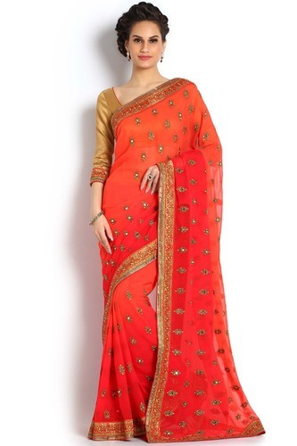 8286fe1dbb Red Georgette Saree at Rs 6498 | Georgette Sarees | ID: 15578148888