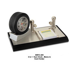 Desk Top MTC 405 4 in 1 Tyre Clock Memo Pad and Name Card Holder