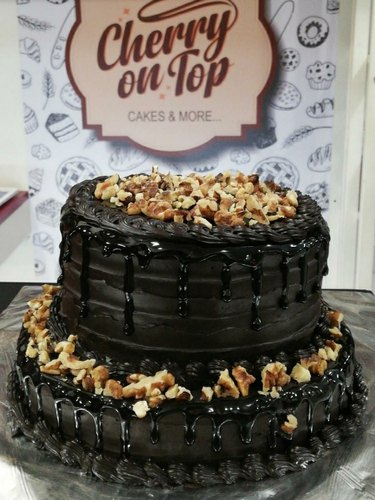 Miraculous Chocolate Walnut 2Tier Cake L Cherry On Top Funny Birthday Cards Online Eattedamsfinfo