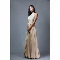 Georgette Party Wear SZGW33 Beige Evening Gowns