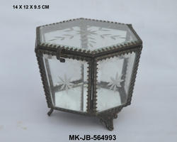 Metal & Glass Antique Style Jewelry Box, Size: Small