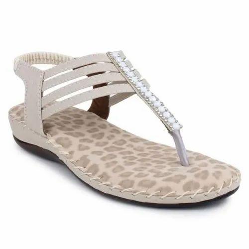 White Ladies Flat Designer Sandal at Rs