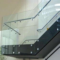 Transparent Glass Railing. Position: Stairs