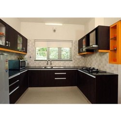 U Shaped Wooden Modular Kitchen