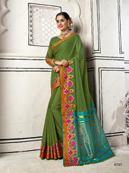 Fantastic Green Colored Party Wear Chanderi Cotton Saree with Blouse Piece