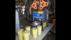 Automatic Cup Sealing Machine For Lassi Popcorn Cup