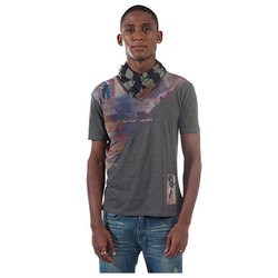 Printed XL Mens V Neck T Shirt