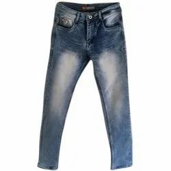 Comfort Fit Casual Wear Mens Blue Knitted Denim Jeans, Waist Size: 28-36 Inch