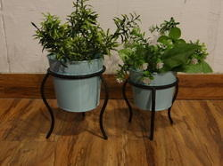 MESSING INTERNATIONAL Iron Indoor- Outdoor Planters With Stand, Set Of 2, For Garden