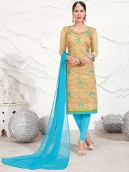PR Fashion Beige And Blue Colored Dress Material