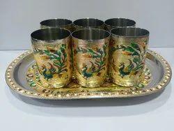 Golden Peacock Glass Set