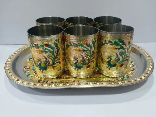 Multicolor Maitrik Handicraft Golden Peacock Glass Set