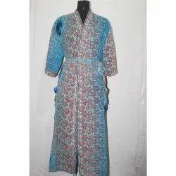 Silk Sari Long Kimono Bath Robe Sari Gown
