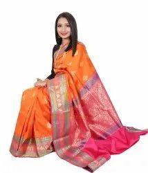 As Shown In Pic Wedding Banarasi Silk Saree, 6.3 m (with blouse piece)