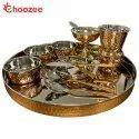 Choozee - Copper Thali Set (12 Pcs) of Thali, Bowl, Spoon, Matka Glass, Ice-Cream Cup, Knife & Fork