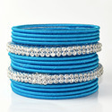 Turquoise Color Silk Thread Traditional Indian Bangles