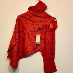 Mens Red Cotton Printed Shirt