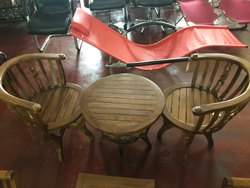 Brown Wooden Restaurant Table Chair Set