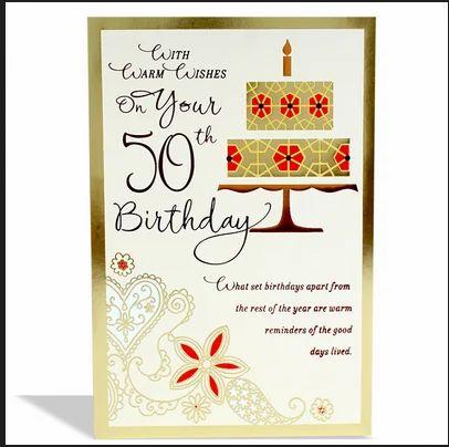 Happy 50th Birthday Card Size 23 Length 15 Id 19302164412