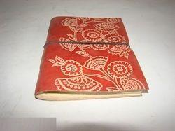 Flower Design Embossed Leather Journal
