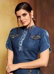 Casual V-Neck Party Wear Embroidery Work Fancy Tops