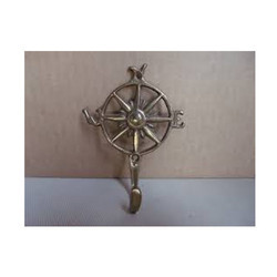 Solid Brass India Compass Nautical Sun Wall Hook Key Chain Holder