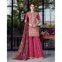 Pink Designer Party Wear Lakhnavi Sharara Suit