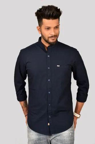 Casual Threads Pure Cotton Navy Plain Shirt