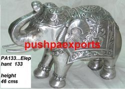 Silver Carved Elephant Statue