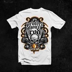 White Cotton Mens Designer T Shirt