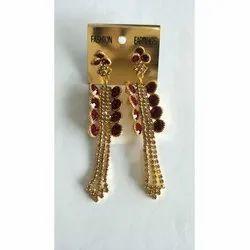 Artificial Brass Diamond Earring, Packaging Type: Plastic Box