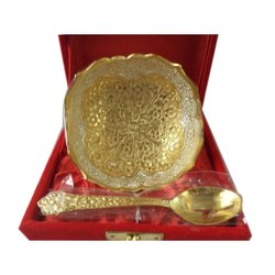 Silver Gold Plated Bowl With Spoon